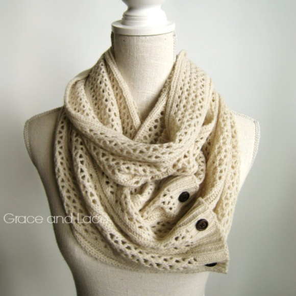 Grace And Lace Accessories Nellie Hand Knit Scarf Open Weave With